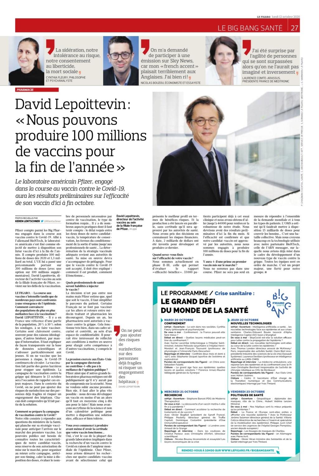 Figaro: 100 millions de vaccins pour fin d'année Lefiga21