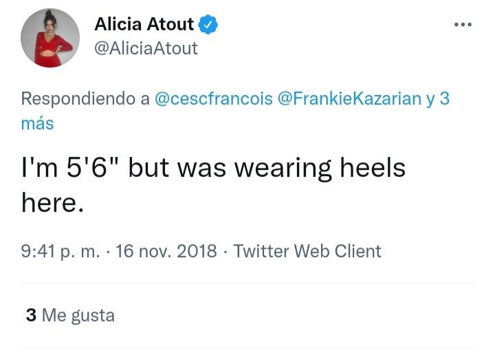 ¿Cuánto mide Alicia Atout? - Altura - Real height 20210112