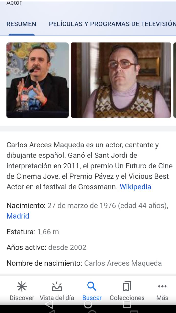¿Cuánto mide Carlos Areces? - Altura Screen10