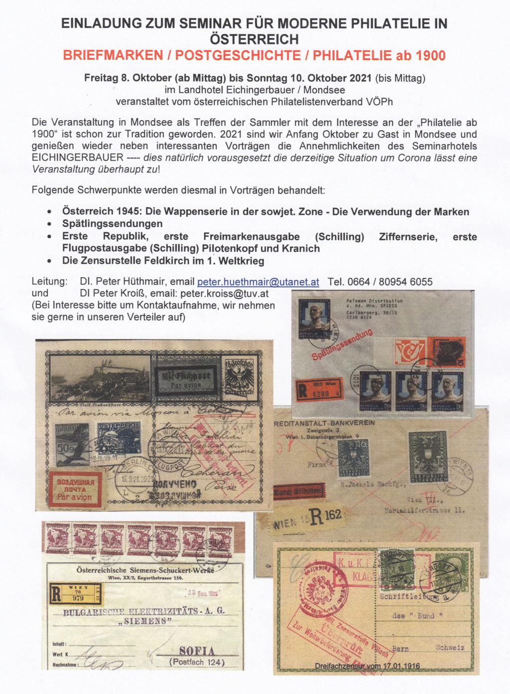 Seminar für moderne Philatelie ab 1900 vom 08. - 10.10.2021 in Mondsee Img_0080