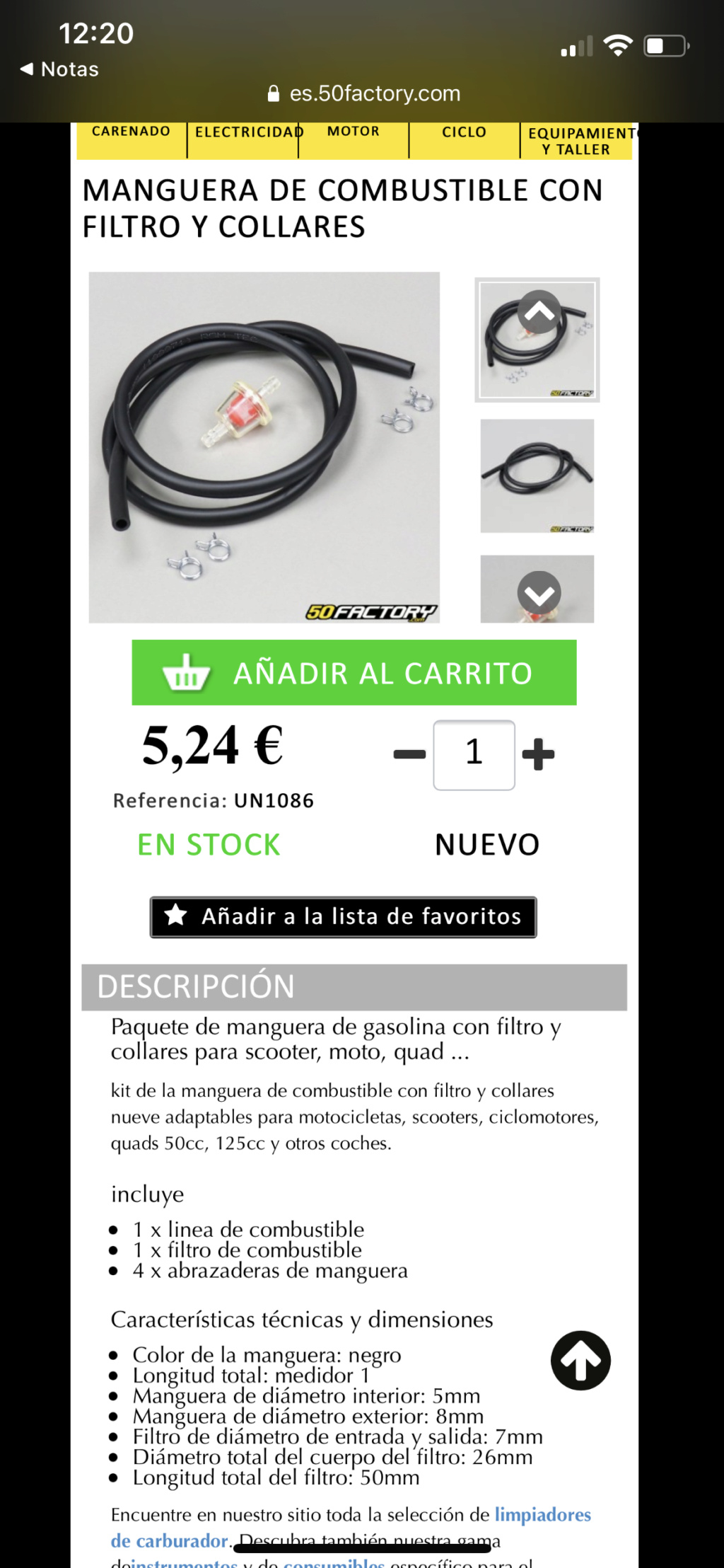 Grifo gasolina Mobylette 188 A3637010