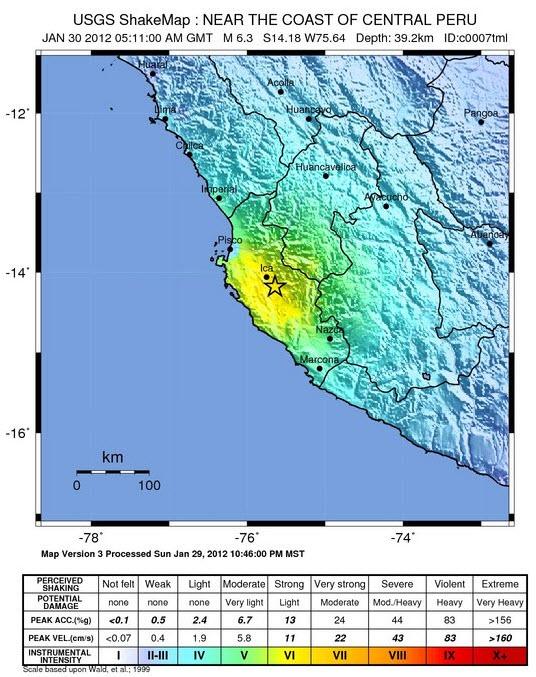 Trés fort séisme au Pérou prés d'Ica Pe-30010