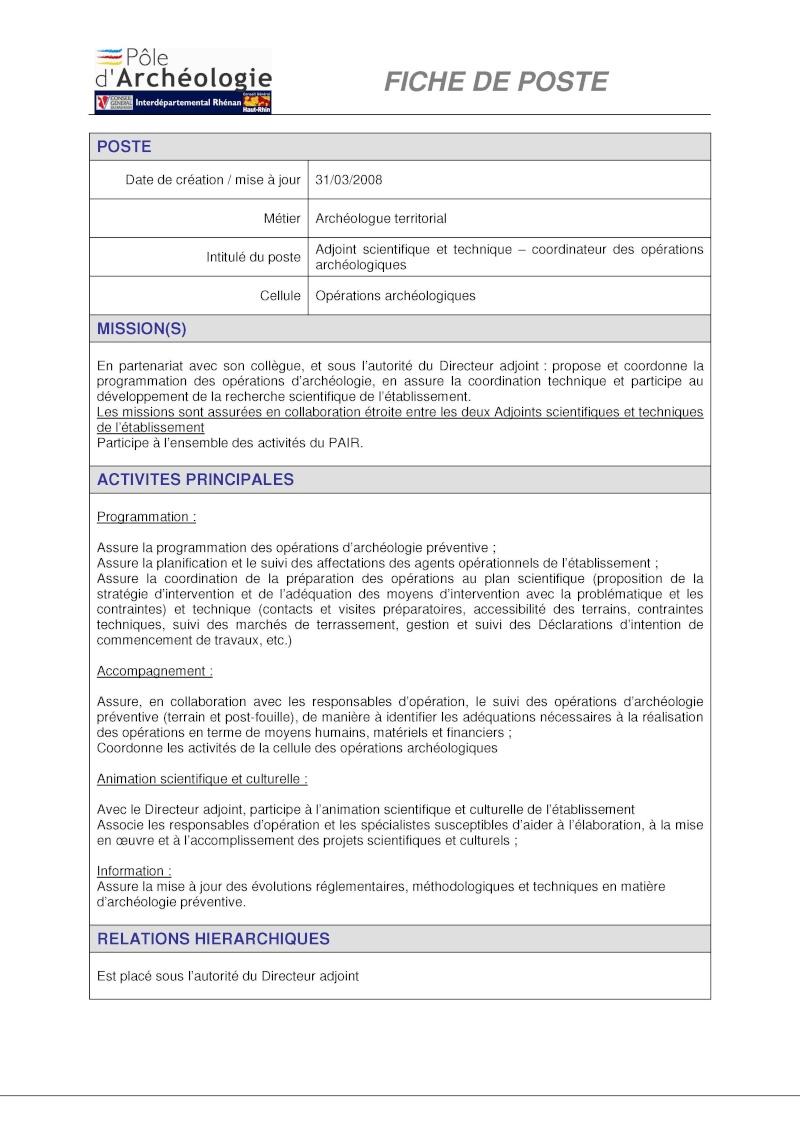 Archéologue au Pole d'archéologie interdépartemental rhénan Ast20010