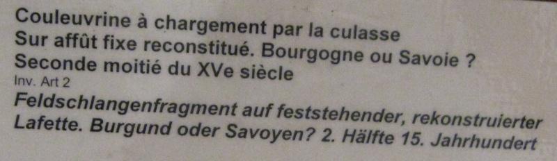 Veuglaire / couleuvrine à culasse du musée de Morges en Suisse (XVe) Veugla10