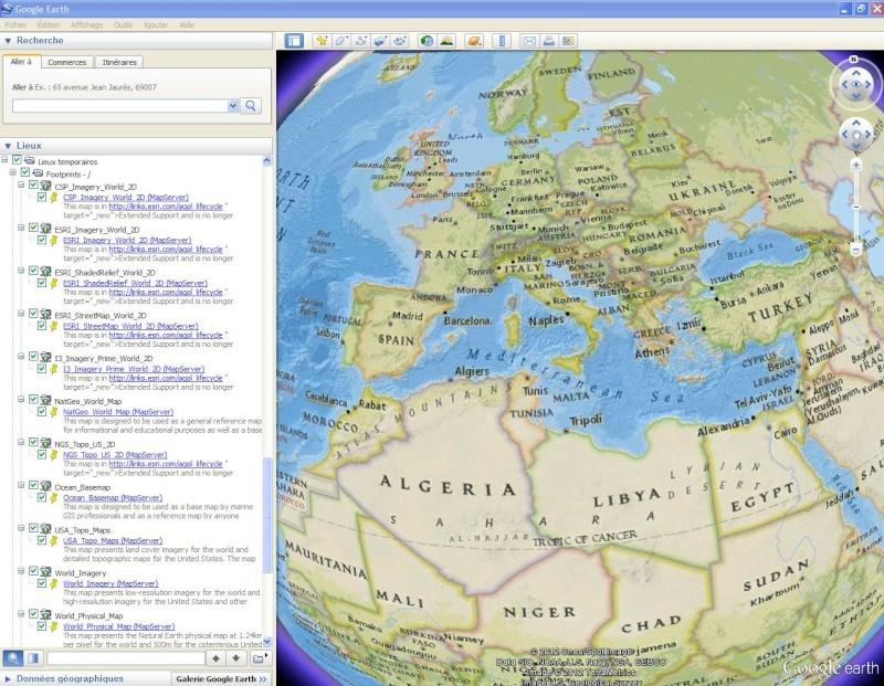 Cartes d'ArcGIS en overlay sur Google Earth Arcgis12
