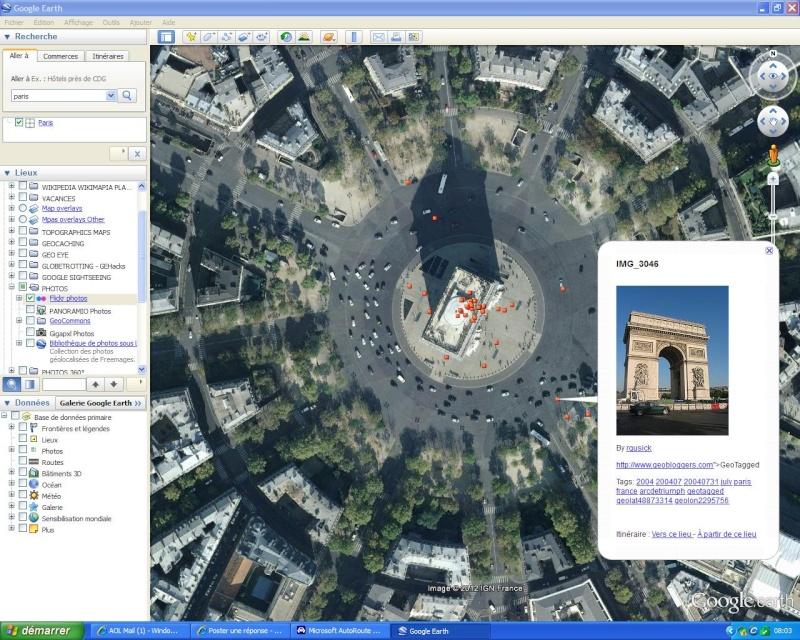 Votre onglet LIEUX PRÉFÉRÉS sur le logiciel Google Earth Flickr10