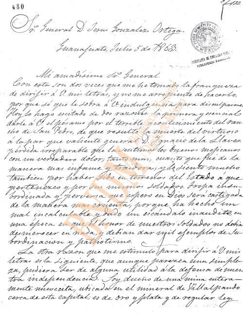Carta al Gral. Jesús Gzz. Ortega sobre una mina (1863) 111