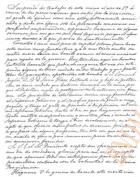 Carta al Gral. Jesús Gzz. Ortega sobre una mina (1863) 210