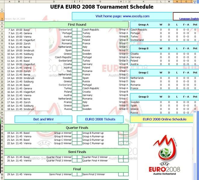 Electronic agenda for the Euro 2008 Exelpc10