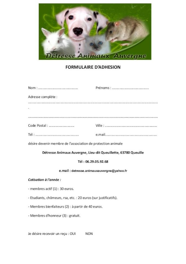 Formulaire d' adhésion Formul11