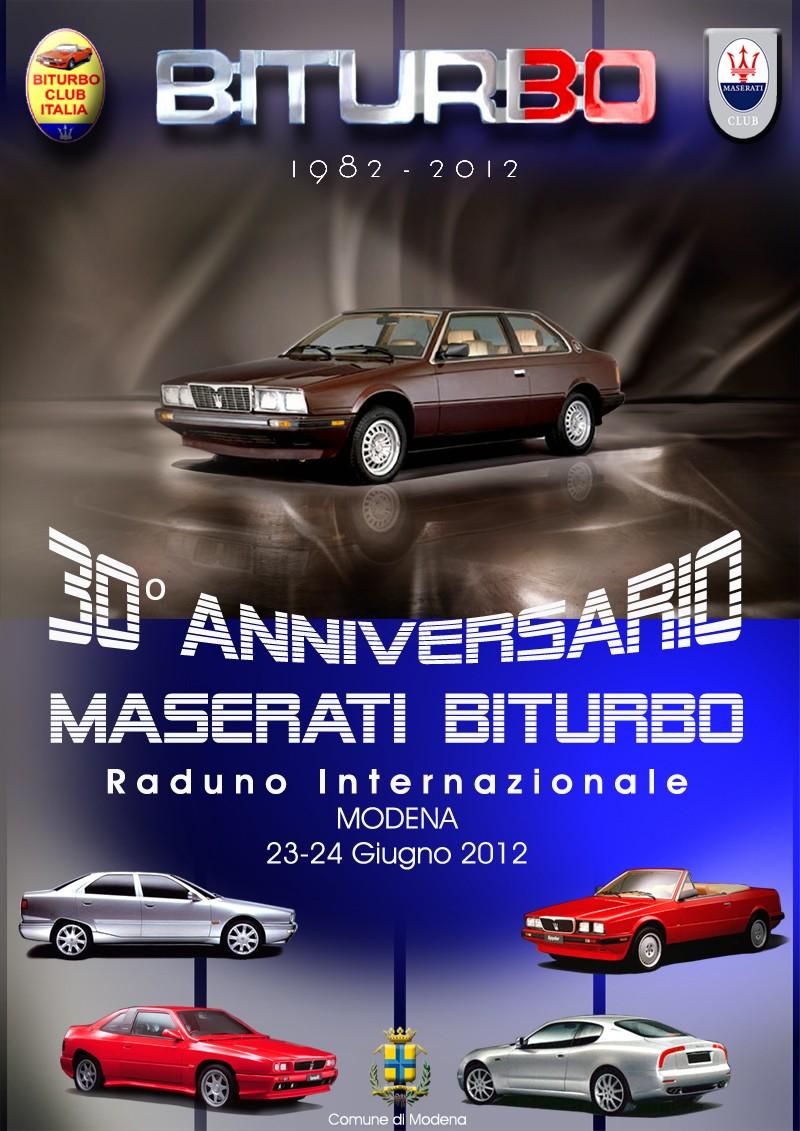 30th Anniversary Maserati Biturbo on June 23-24th in Italy - English Language Programme Locand10