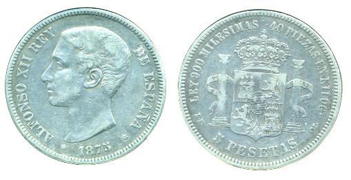 5 Pts. de Alfonso XII (Madrid, 1875 d.C) A_xll10