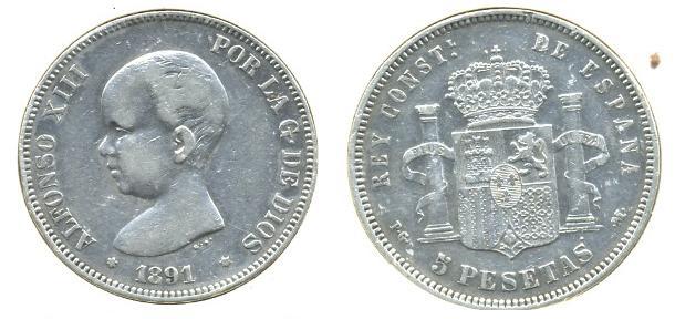 5 Pts. de Alfonso XIII (Madrid, 1891 d.C) Al_1310