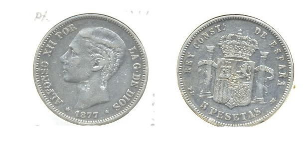 5 Pts de Alfonso Xll (Madrid, 1877 d.C) Al_19710