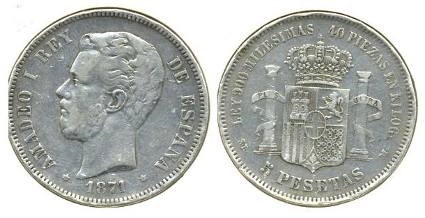 5 ptas. Amadeo I (Madrid, 1871 d.C) Ama_110