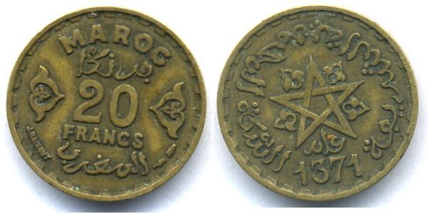 Marruecos, 20 francos, 1951 Fech10