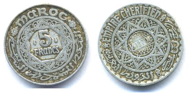 Marruecos, 5 francos, 1950 Marru10