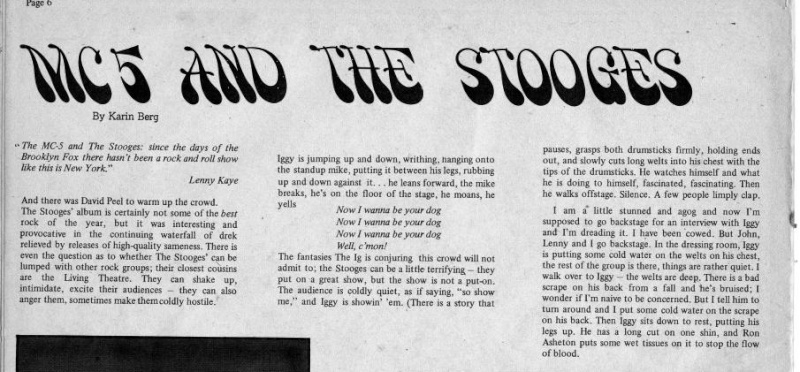 Changes Magazine 1969 - MC5 and Stooges at the Pavilion, NY Change10
