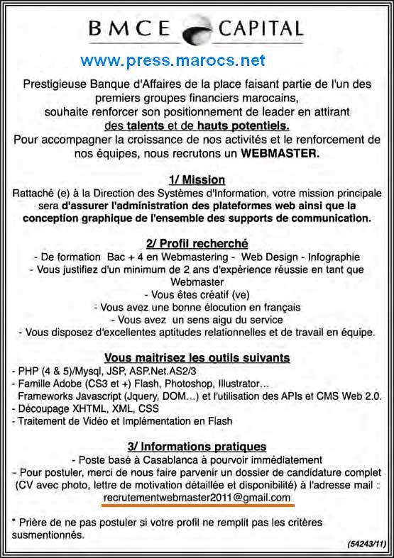 البنك المغربي للتجارة الخارجية (BMCE Bank): توظيف مسؤول تطوير الموقع الأنترنيت (webmaster) Bmce-b10