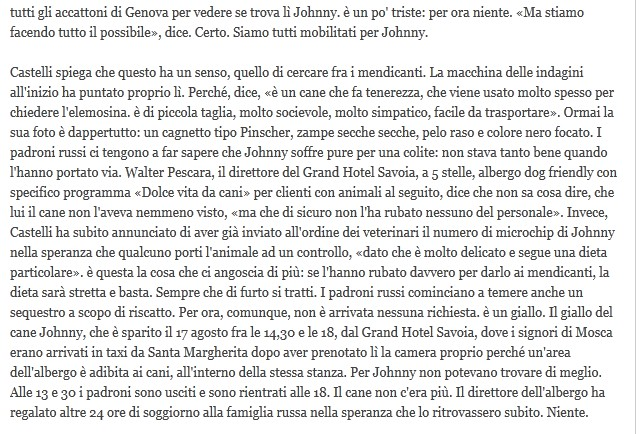 Scomparso Johnny cagnolino miliardario Johnn210