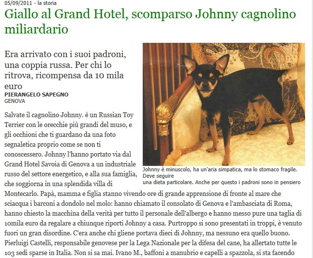 Scomparso Johnny cagnolino miliardario Johnny11