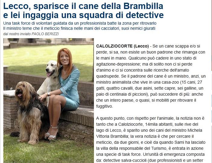 Scomparso il cane della Brambilla Lecco10