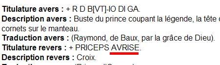 Denier d'Orange pour Raymond III ou IV Avrise11