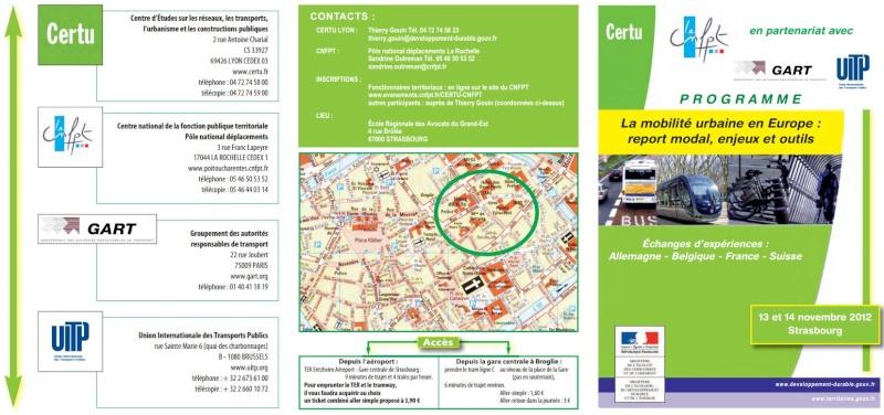 Strasbourg - 13 et 14 novembre 2012 : La mobilité urbaine en Europe : report modal, enjeux et outils 110