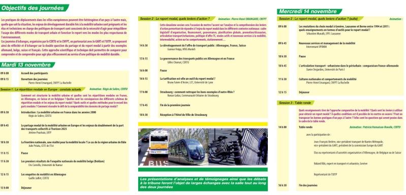 Strasbourg - 13 et 14 novembre 2012 : La mobilité urbaine en Europe : report modal, enjeux et outils 210