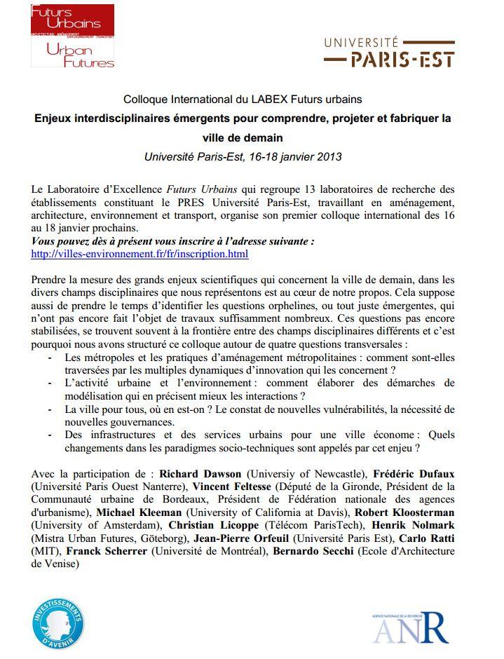 16-18 janv 2013 - Paris - Enjeux interdisciplinaires émergents pour comprendre, projeter et fabriquer la  ville de demain Anr10