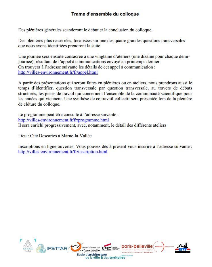 16-18 janv 2013 - Paris - Enjeux interdisciplinaires émergents pour comprendre, projeter et fabriquer la  ville de demain Anr210