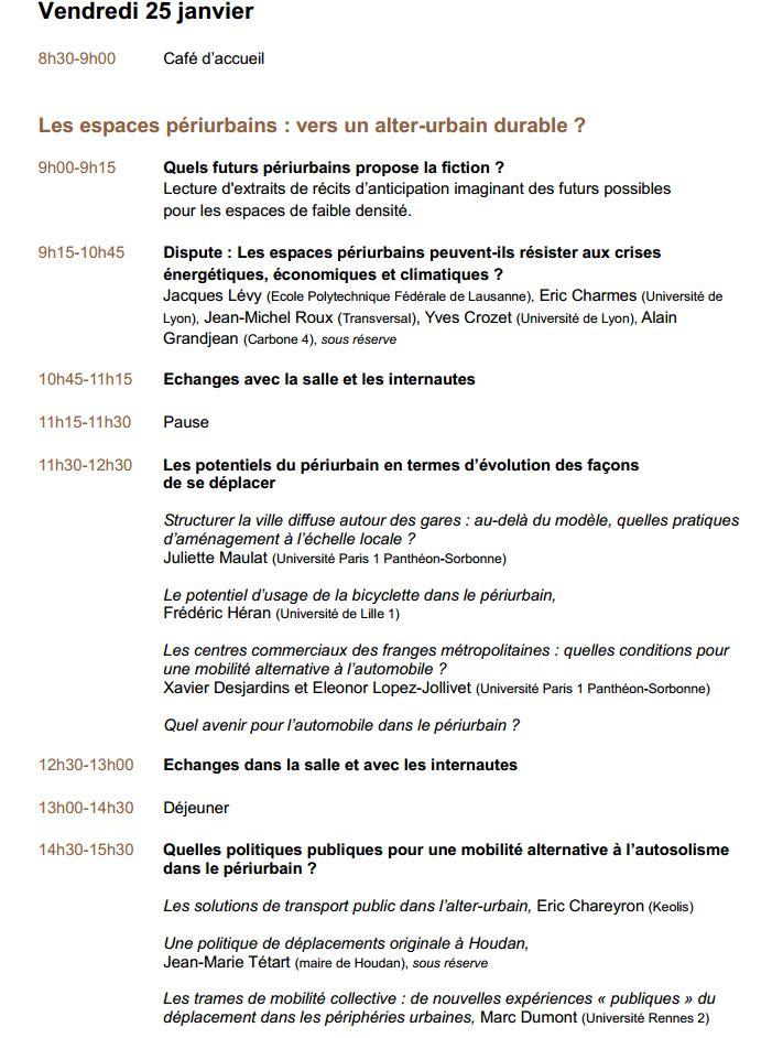 24-25 janvier 2013 - Paris - Rencontre Des mobilités durables dans le périurbain, est-ce possible ? Progra12