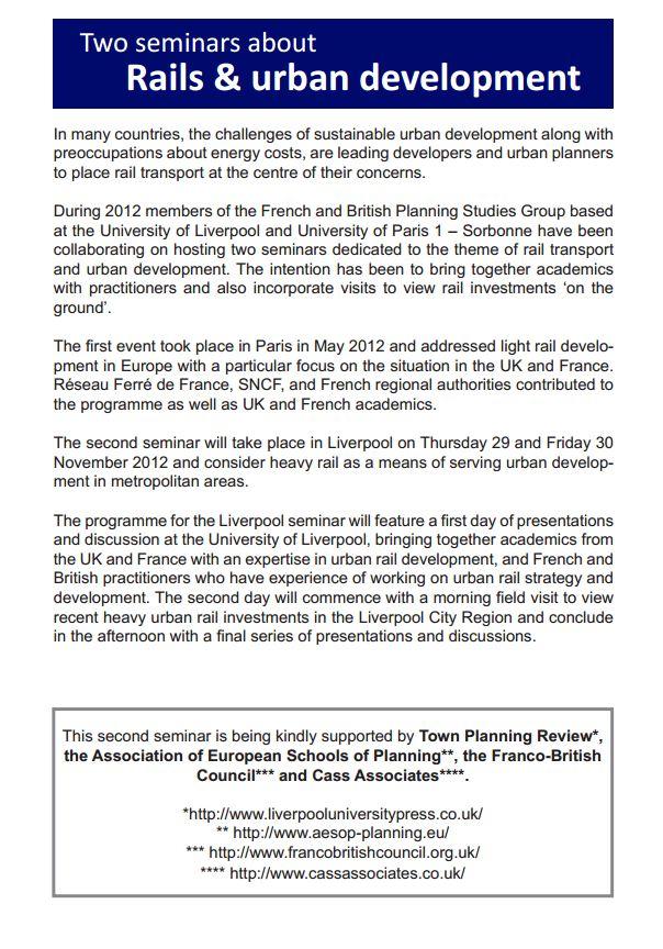 29-30 nov 2012 - Liverpool - Articulation entre aménagement urbain et réseaux ferrés lourds dans les métropoles françaises et britanniques. Semina11