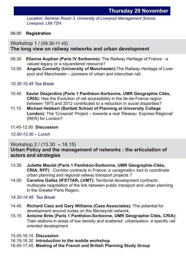 29-30 nov 2012 - Liverpool - Articulation entre aménagement urbain et réseaux ferrés lourds dans les métropoles françaises et britanniques. Semina12