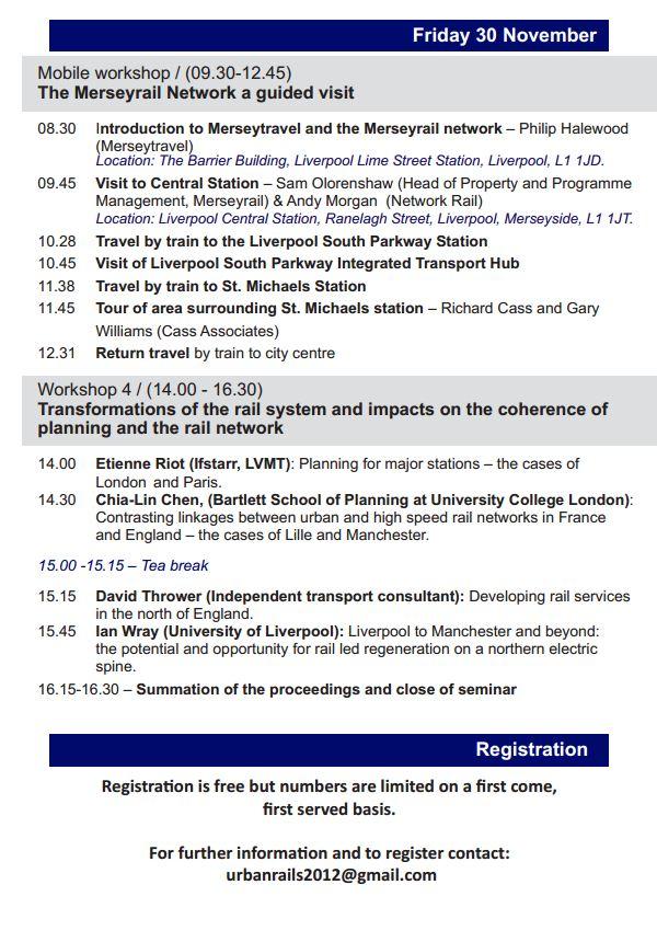 29-30 nov 2012 - Liverpool - Articulation entre aménagement urbain et réseaux ferrés lourds dans les métropoles françaises et britanniques. Semina13