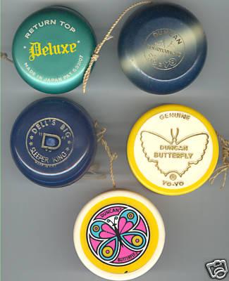 "[CONCLUSA VINTA] compralo subito ebay 180296130083 5 vintage yo yo's wooden, tin, plastic Duncan, Big ""D"" 2edf_110"