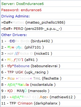 List of Players on each server - Tuesday 17th January Server16