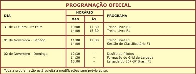 GP Brasil Fórmula 1 - Interlagos - 31/10 a 2/11 Progra10