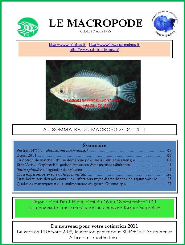 Sommaire de la revue du Macropode. 2011-011