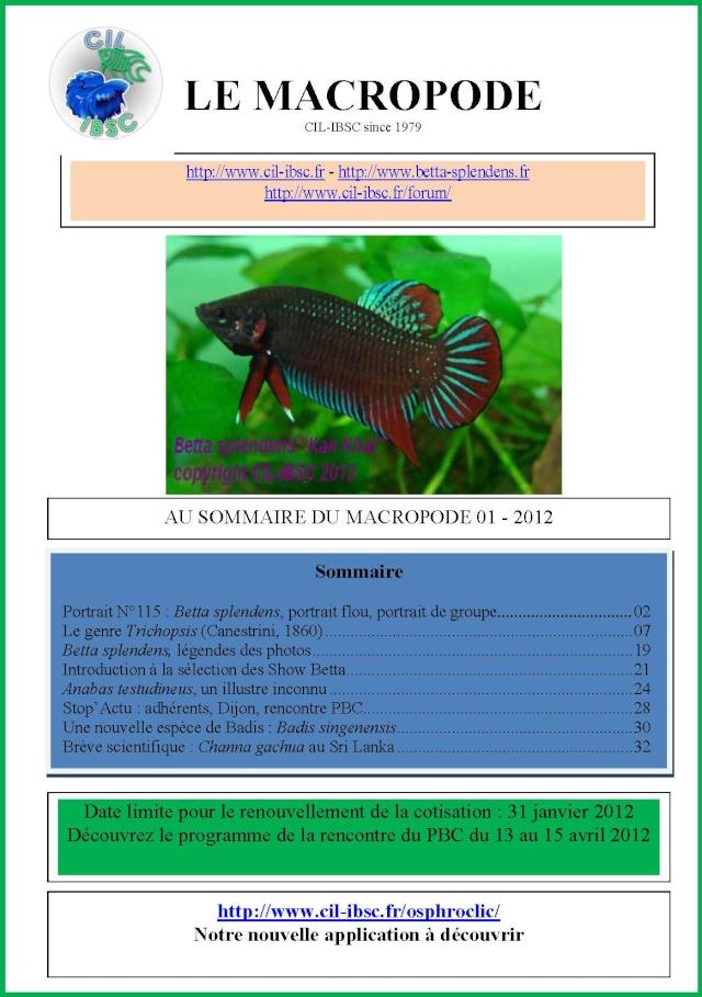 Sommaire de la revue du Macropode. 2012-010