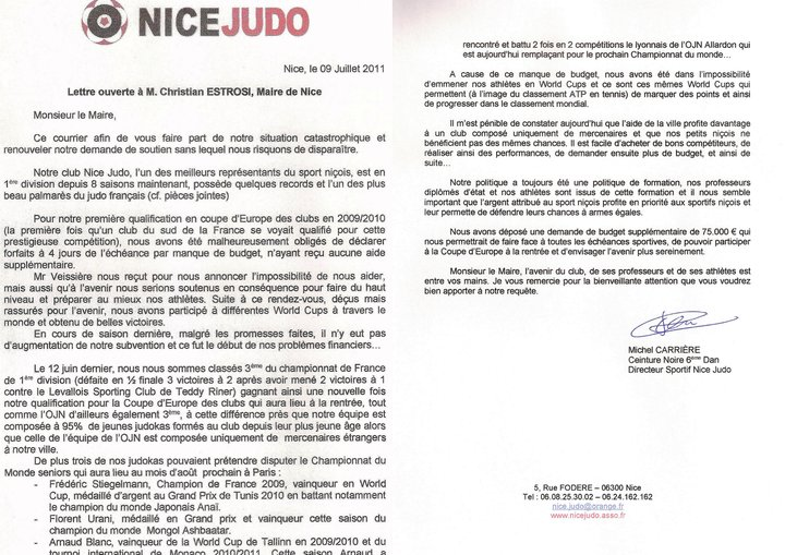 Nice Judo, sur le point d'imploser ? Lettre10