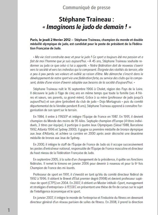 Communiqué de presse de Stéphane Traineau qui annonce sa candidature aux élections de la FFJDA ! Traine10