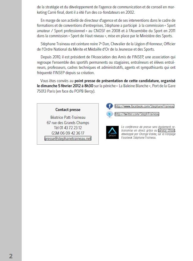 Communiqué de presse de Stéphane Traineau qui annonce sa candidature aux élections de la FFJDA ! Traine11