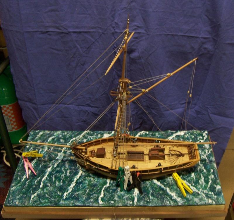 (preparation ) diorama ; 1780  cotre  pirate  en  mer d'iroise  100_4218