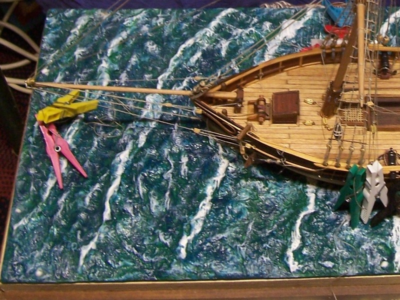 (preparation ) diorama ; 1780  cotre  pirate  en  mer d'iroise  100_4234