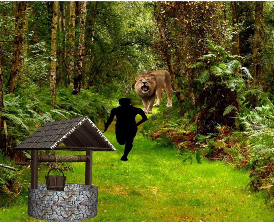الرجل والحلم الغريب في الغابة مع الأسد والبئر  23755010