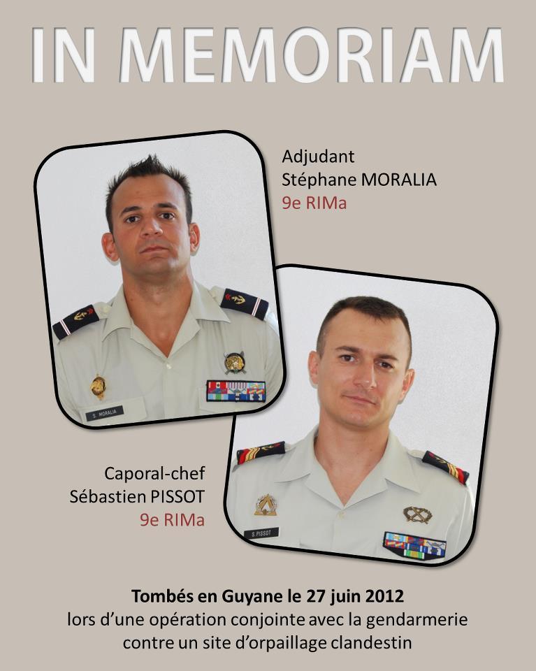 GUYANE : DEUX MILITAIRES du 9e Régiment d'infanterie de marine (RIMa) tués en Guyanne 40392410