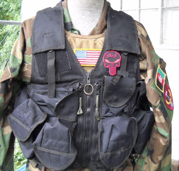 Afghan Black Assault Vest - A. Qahir Brief Case Maker Kandahar Afghanistan 03710