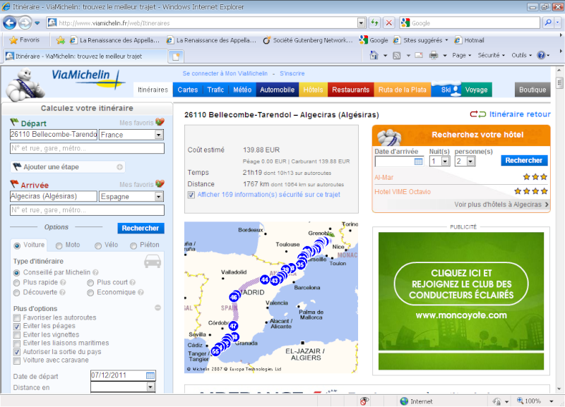 MARSEILLE- ALGESIRAS   ?? Quel itinéraire?? 2011-115