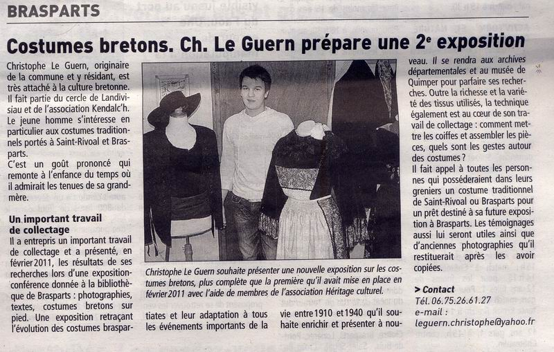Christophe Le Guern à la recherche de documents et de témoignages sur les costumes de Brasparts Articl10